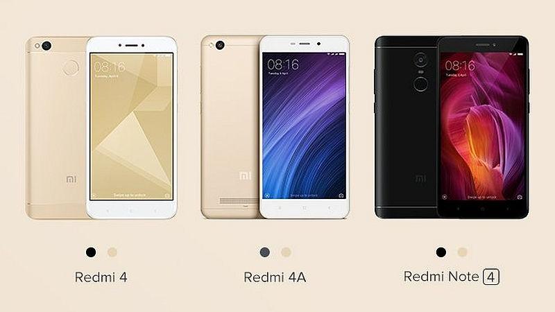Xiaomi Redmi 4A, Redmi 4, and Redmi Note 4 Pre-Order Sale in India Today